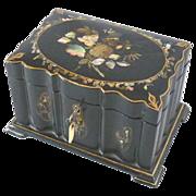 Papier Mache Tea Caddy Mother of Pearl Abalone Inlay Circa 1850