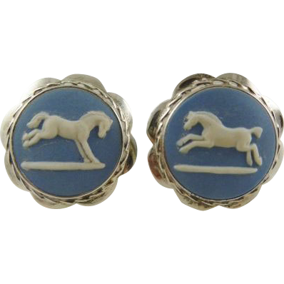 Wedgwood Jasperware & English Sterling Silver Cufflinks with  Horses