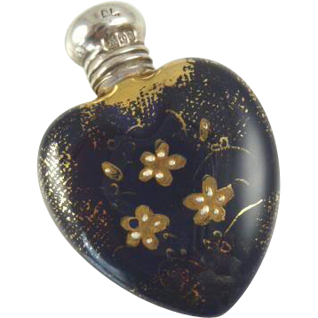 Antique Enameled Porcelain Perfume Flask Bottle Heart Shaped  with Silver Cap