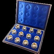 Antique Set of 12 Coin Silver Salts with Gilt Original Presentation Box