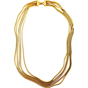 Vintage Trifari Gold Tone Necklace with 5 Stands