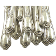 "Antique French Silver Knives Puiforcat Set of Twelve Monogrammed ""AR"""