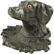 Antique Cast Iron Figural Dog Ink Well Glass Eyes Circa 1875