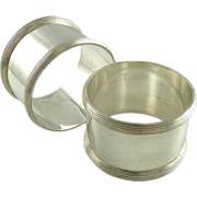 English Sterling Silver Napkin Rings Classic Pair