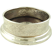 Tiffany & Co Sterling Silver Wine Bottle Coaster or Holder with Spider Webs, Birds, and Flowers