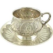 Antique French Sterling Silver Cup & Saucer Armand Fresnais, Paris