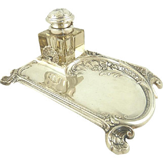 French Silver Plate Inkwell & Pen Holder with Shell and Floral Motifs