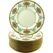 Minton Porcelain Plates w/Gilt Luncheon Plates Set of 10 Flower Baskets Swags