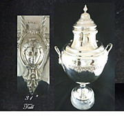 """Antique Silver Trophy Cup or Urn on Marble Plinth 31"""" Tall"""