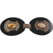 Antique Victorian Black Sash Buckle with Mother of Pearl
