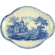 Antique Child's Meat Dish Serving Tray in the Humphrey's Clock Pattern by Ridgway Blue & White Transferware