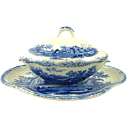 Child's Antique Covered Tureen Vegetable Dish in the Humphrey's Clock pattern by Ridgway Blue & White Transferware