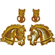 Vintage Mimi Di N Gold Plated Horse Buckle Belt and Earrings 1979