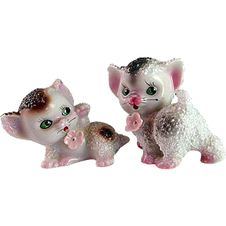 REDUCED Pair of Precious 1950s Sugared Porcelain Kittens