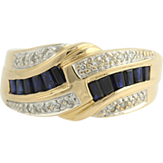 Sapphire & Diamond Cocktail Ring - 18k Yellow Gold Band Women's Genuine 1.08ctw