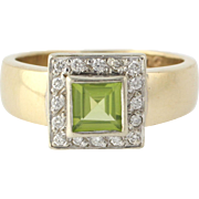 Peridot & Diamond Cocktail Ring - 9k Yellow Gold Genuine Halo Women's .68ctw