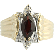 Garnet & Diamond Cocktail Ring - 10k Yellow and White Gold Women's 1.24ctw