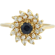 Jabel Diamond & Sapphire Flower Cluster Ring- 18k Yellow Gold High Karat 1.29ctw