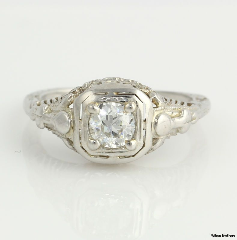 .42ct VVS2 F-G Genuine European Diamond Vintage Engagement Ring - 18k White Gold