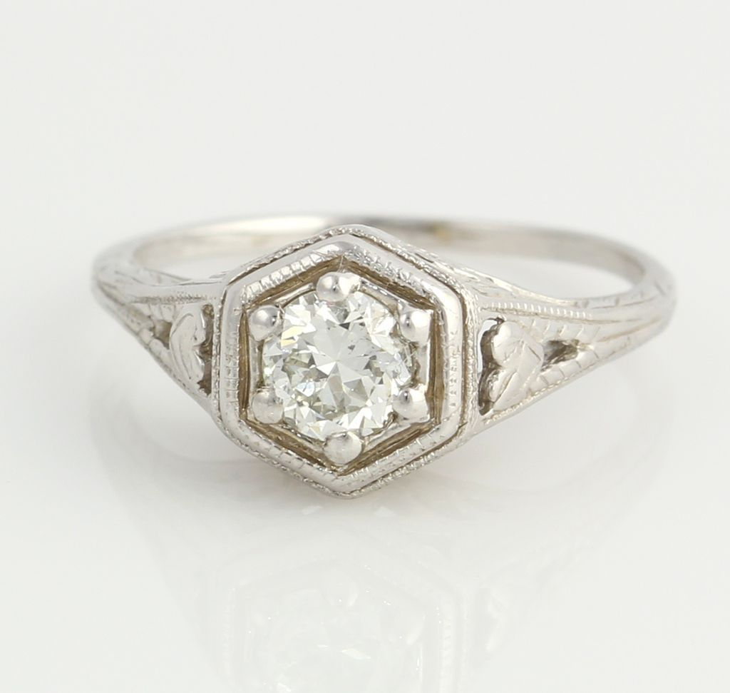 Antique 1/3ct Diamond Engagement Ring- 14k White Gold