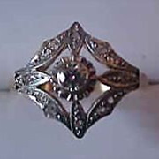 Antique  14K Yellow and White Gold Diamond Ring