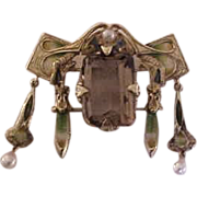 Incredible Large Art Nouveau 14K Yellow Gold  Enamel Pendant Brooch with Topaz & Pearls