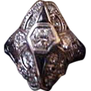 Platinum Deco Diamond and Sapphire Filigree Ring