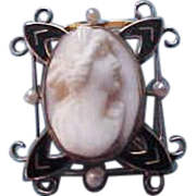 !0K Yellow Gold Seed Pearl and Enamel Cameo Brooch Pin