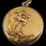 10K Yellow Gold  Art Nouveau Floral Locket with Diamond