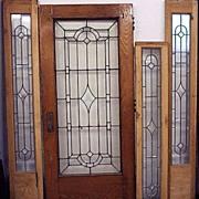 4 Pc Leaded Glass Door Set