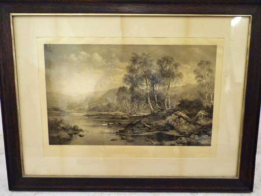 """BW Leader Etching """"The Valley of the Llugwy""""  1883"""