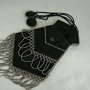 Edwardian Kid Leather Reticule Beaded Evening Bag