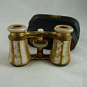 Antique Victorian Mother of Pearl Opera Glasses Original Case