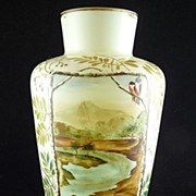 Victorian Hand Painted Bristol Glass Vase