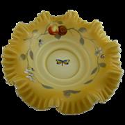 Victorian Ruffled Enameled Center Bowl Amber Cased Satin Glass
