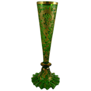 Bohemian Czech Green Glass Bud Vase with Gold Enamel