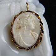 Victorian Angel Skin Coral Cameo Pendant 10K Seed Pearl Setting
