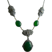 Art Deco Rhodium Filigree and Chrysoprase Glass Necklace