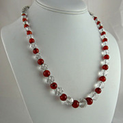 Art Deco Rock Crystal and Carnelian Bead Necklace