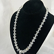 Art Deco Rock Crystal Bead Necklace Hand Faceted
