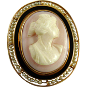 Edwardian Cameo with Enamel and Seed Pearls