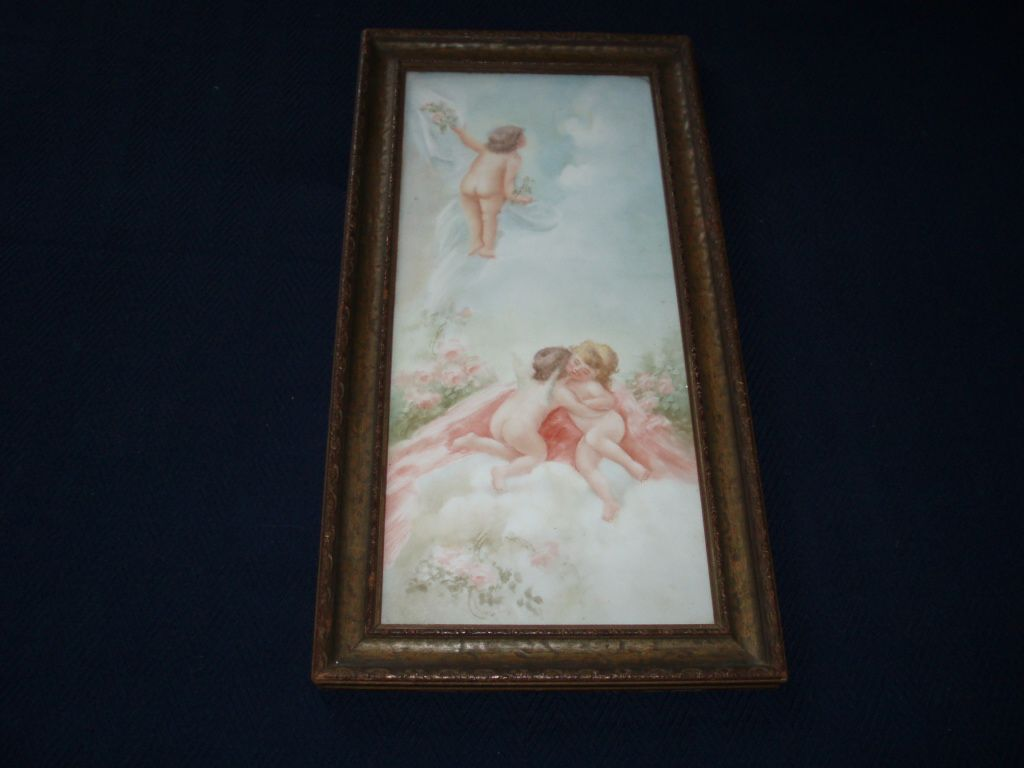 Angelic Antique French Limoges Porcelain Plaque Painting of Cherubs