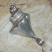 Large Vintage Mexican Sterling Silver Sea Shell Pendant