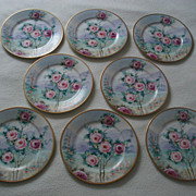 Beautiful Set of Eight Large Antique Ahrenfeldt Plates With Hand Painted Roses