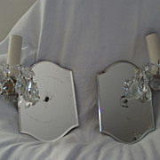 Pair Vintage Mirrored Crystal Wall Sconces