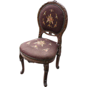 Exquisite Antique Carved Wood French Ladies Chair