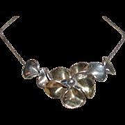 Vintage Sterling Silver Floral Necklace