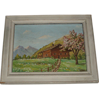 SALE Vintage Oil Painting of Mountainside Cabin, Signed P. Chabloz
