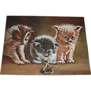 Vintage Kittens Oil Painting, Signed