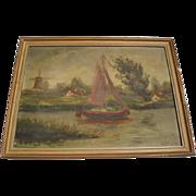 Vintage Seaside Oil Painting, Signed Heyl